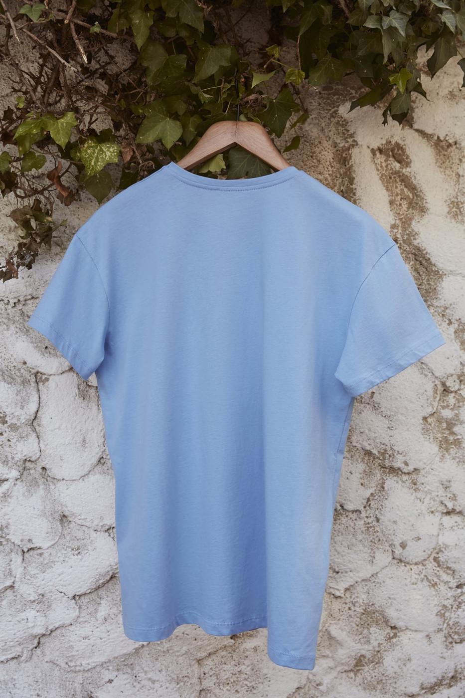 Trendyol Blue 100% Organic Cotton Boyfriend Knitted T-shirt