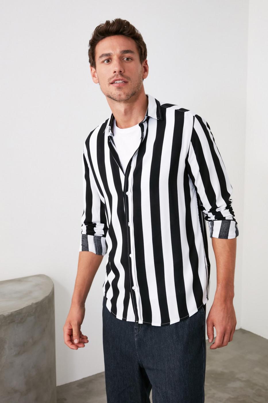 Trendyol Black Men Striped Shirt Collar Long Sleeve Regular Shirt