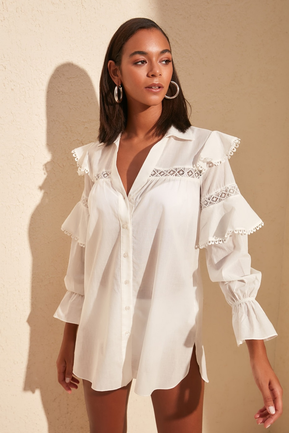 Trendyol White Arms Volli Vual Shirt