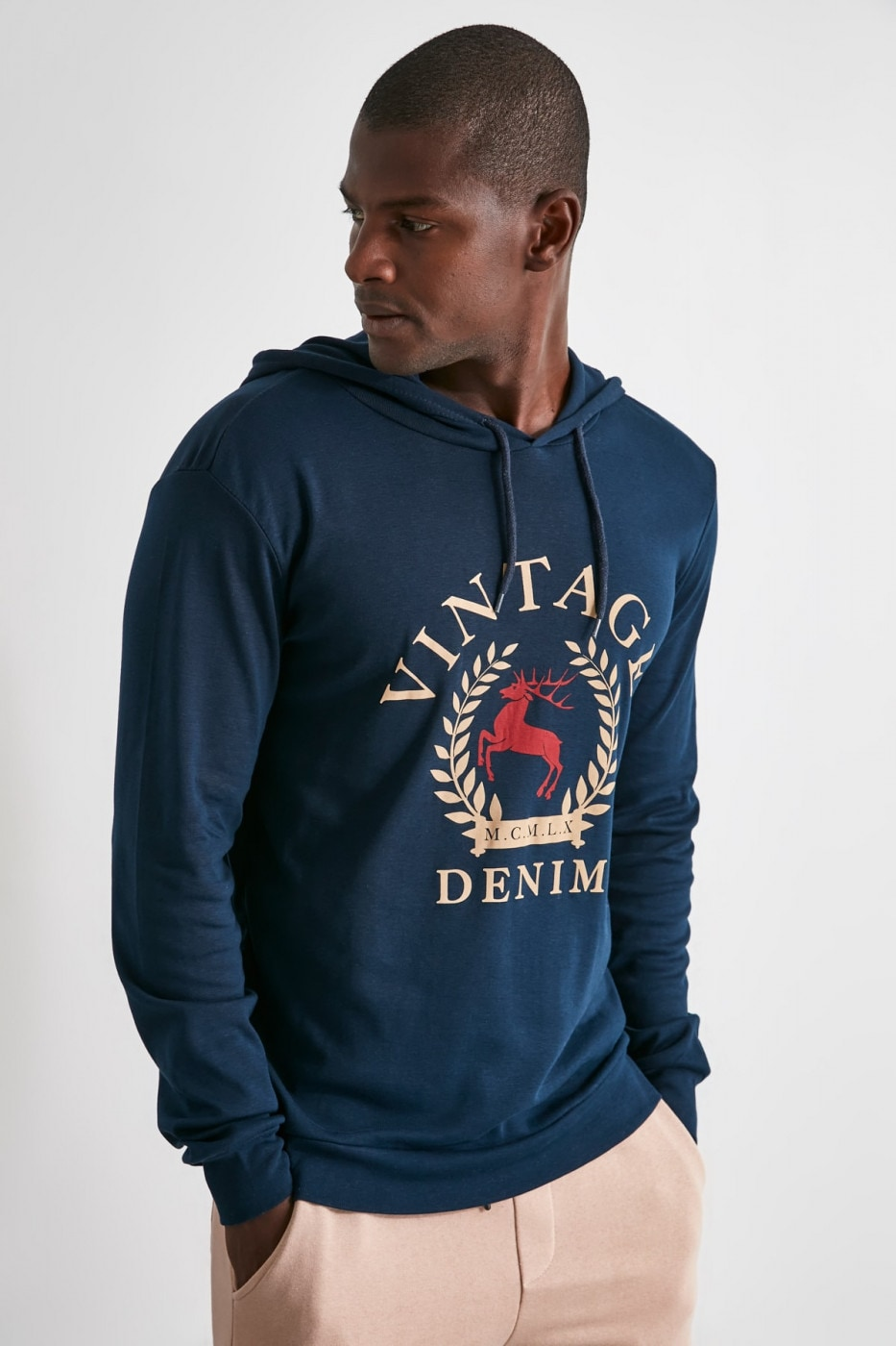 Trendyol Navy Men's Long SleeveHood T-Shirt