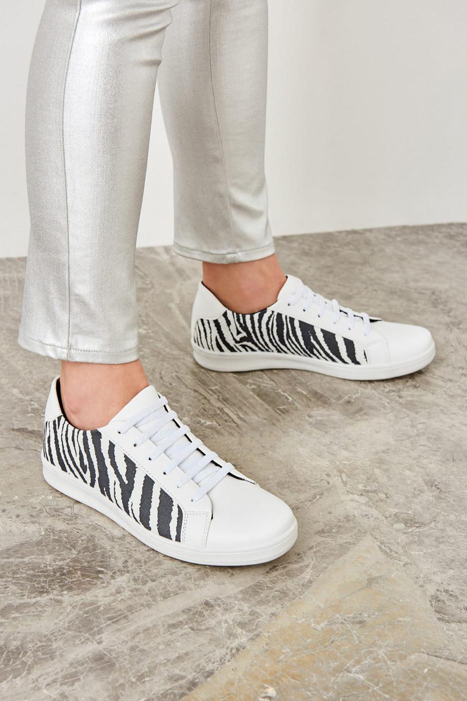 Trendyol White Zebra-Patterned Women's Sneaker
