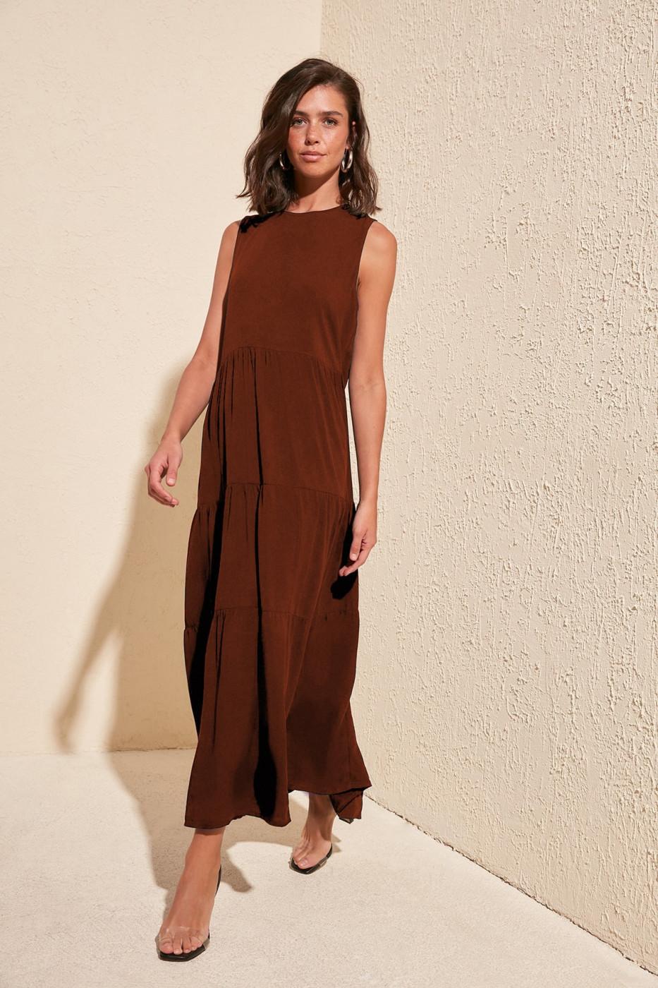 Trendyol Cinnamon Wide Cut Dress