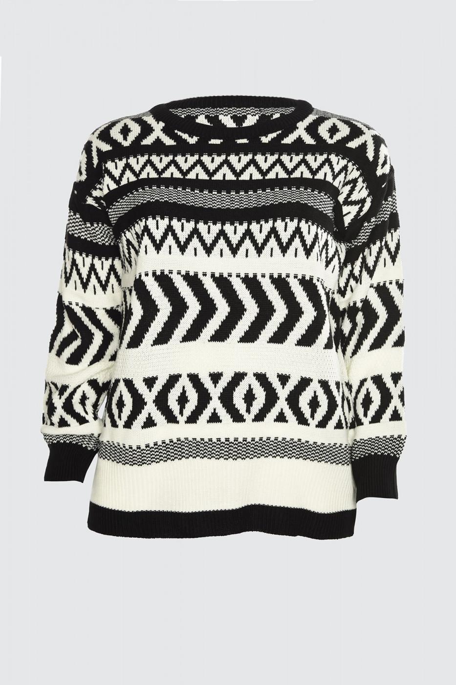 Trendyol Black Jacquard Knit Sweater