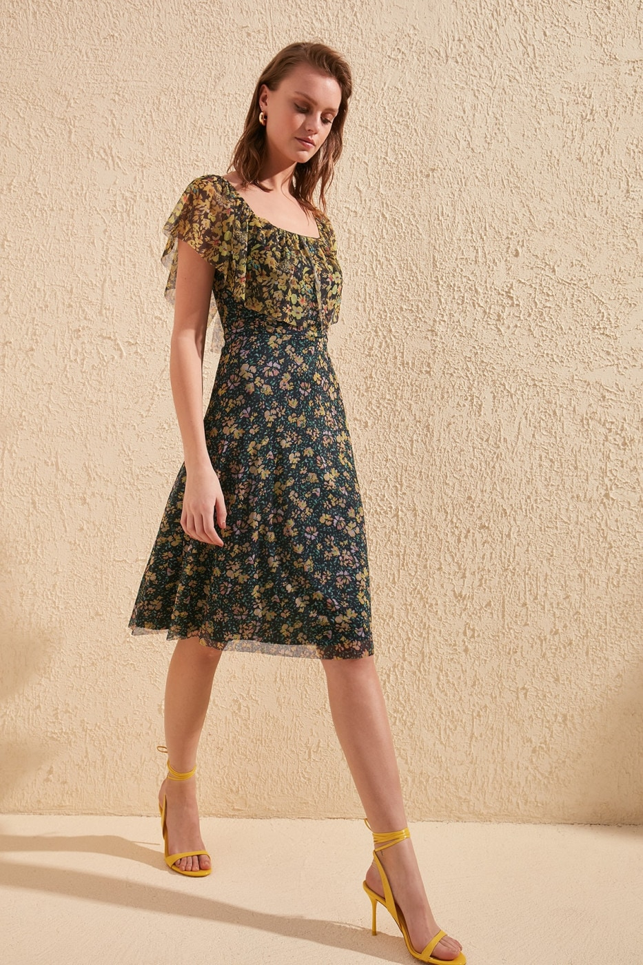 Trendyol MultiColored Floral Patterned Tulle Knitting Dress