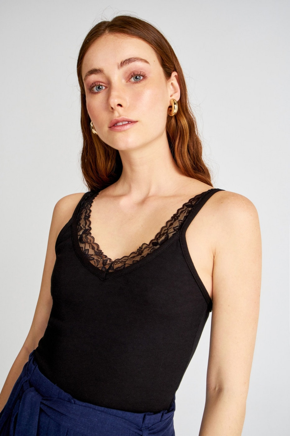 Trendyol Black Lace Detailed Fitilli Knitted Blouse