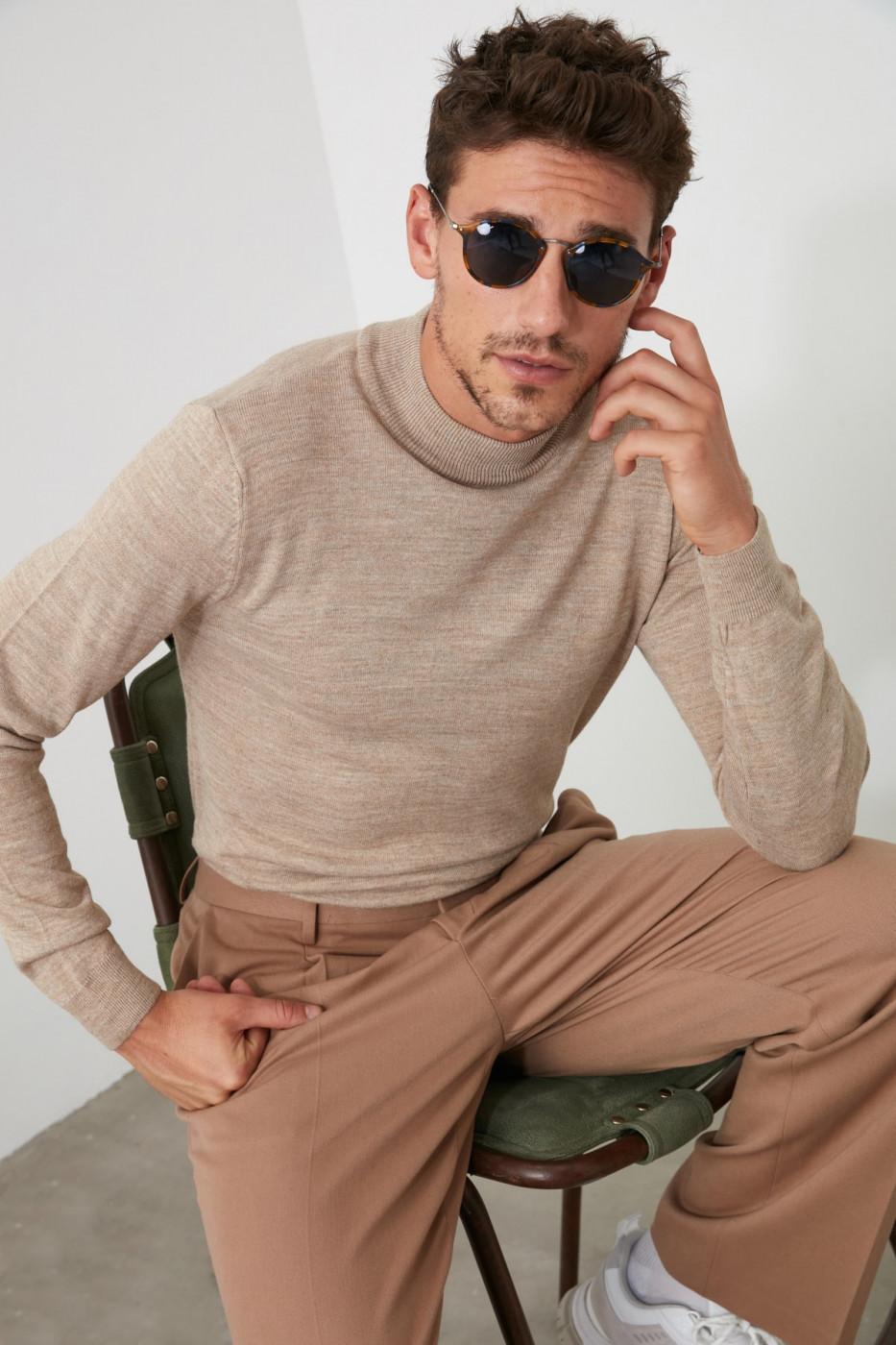 Trendyol Beige Men Half Fisherman's Knit Sweater