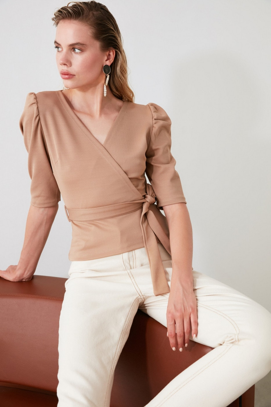Trendyol Beige Cruise Knitted Blouse