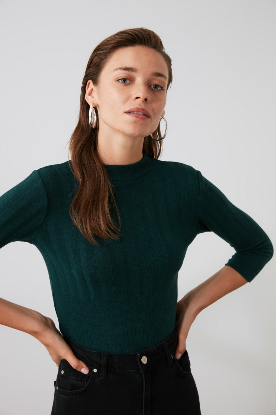 Trendyol Oil Fitilli Upright Collar Knitted Blouse