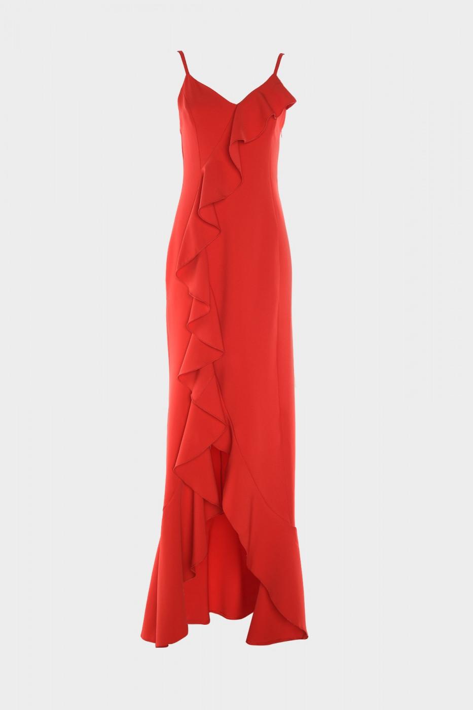 Trendyol Red Frill Detailed Evening Dress & Graduation Dress