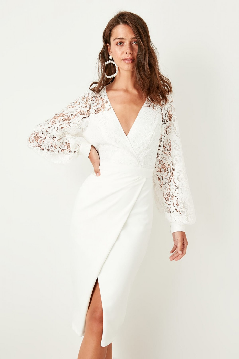 Trendyol Ecru Lace Detailed With Red Pinstripes Dress