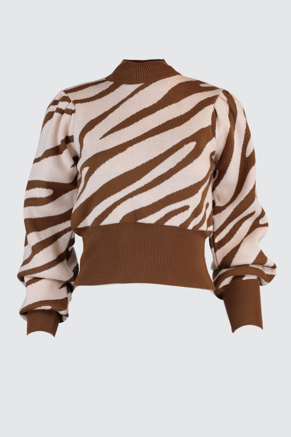Trendyol Brown Zebra Patterned Knitwear Sweater