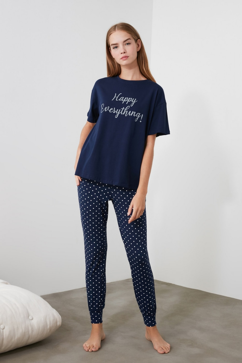 Trendyol Knitted Pyjamas Set with Navy Motto