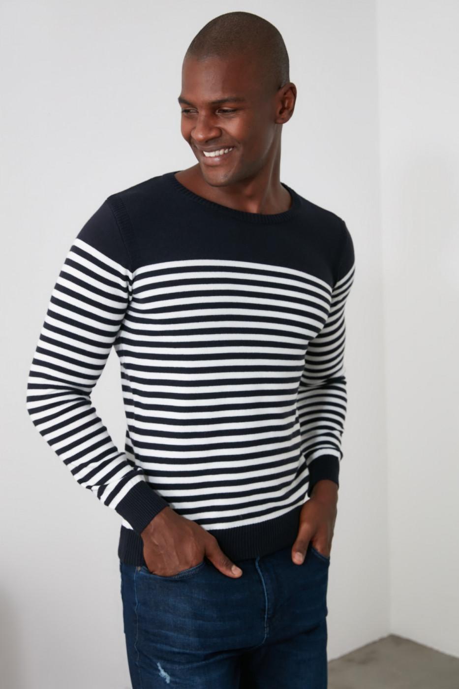 Trendyol Navy Men's Bicycle Collar Striped Knitwear Sweater