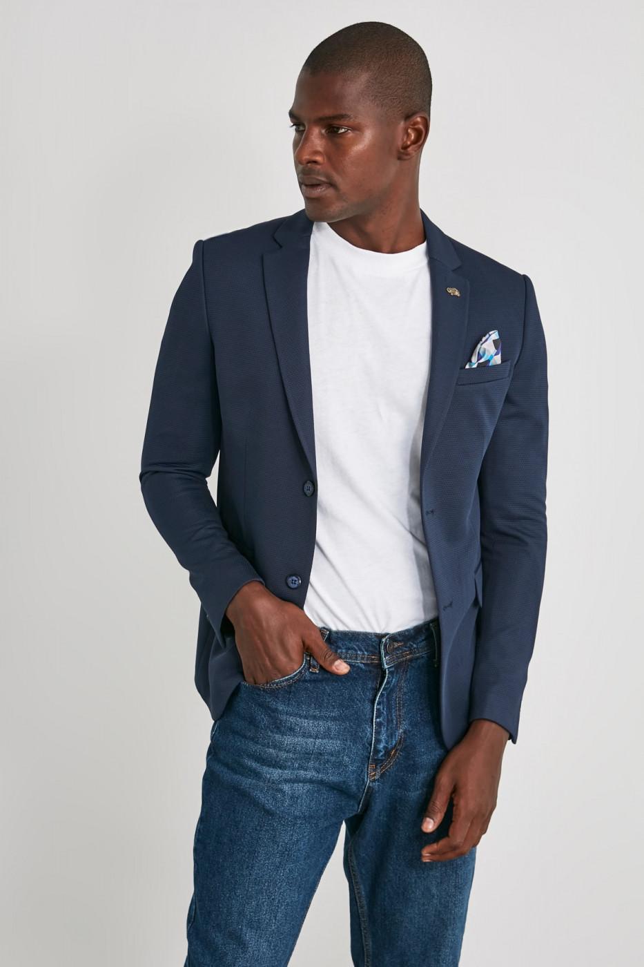 Trendyol Navy Men's Textured Slim Fit Jacket