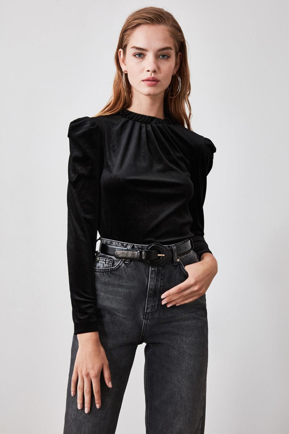 Trendyol Burgundy Shoulder Detailed Velvet Knitted Blouse