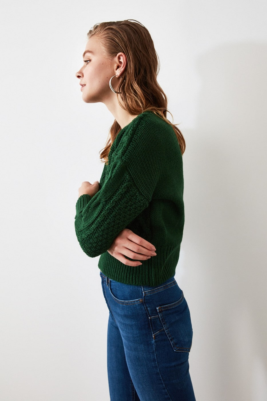 Trendyol Emerald Green Knitting Detailed Knitsweater