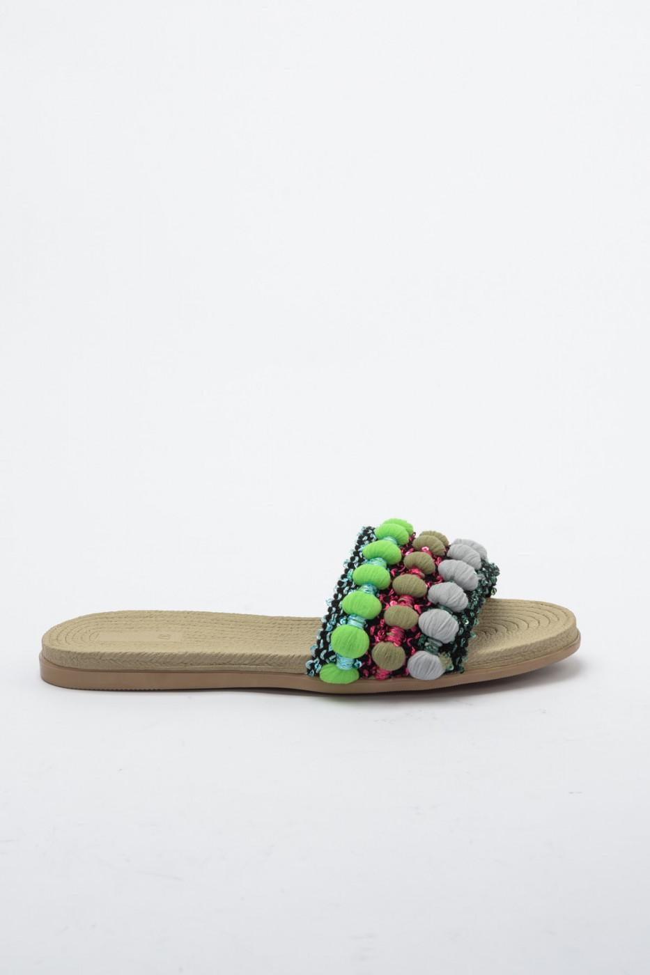 Trendyol Green Pompom Detailed Women's SlipperTAKS20TE0013