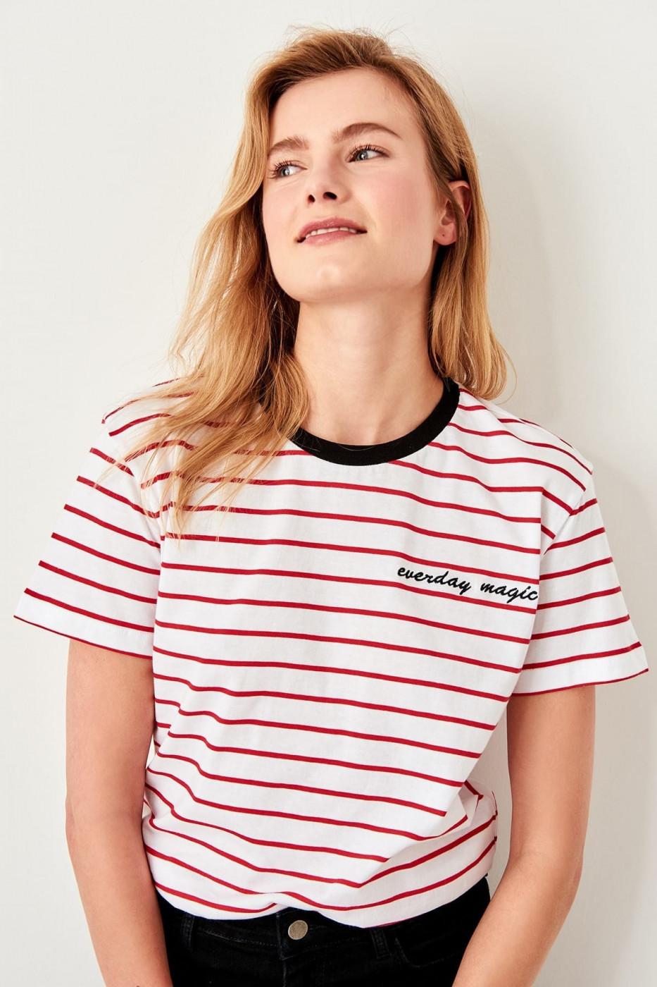Trendyol Red striped Basic Knitted T-shirt