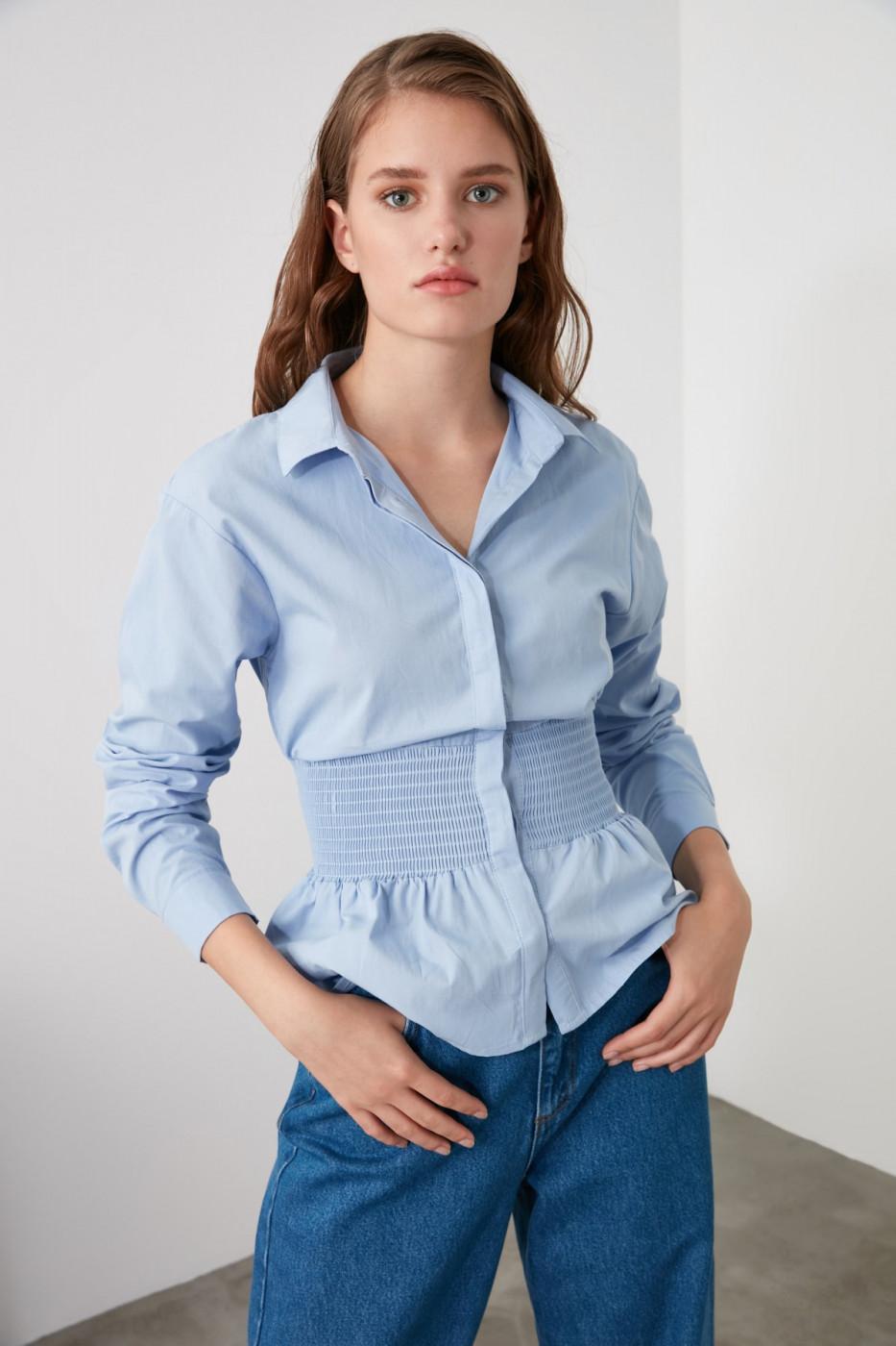 Trendyol Blue Waist Gathered Shirt