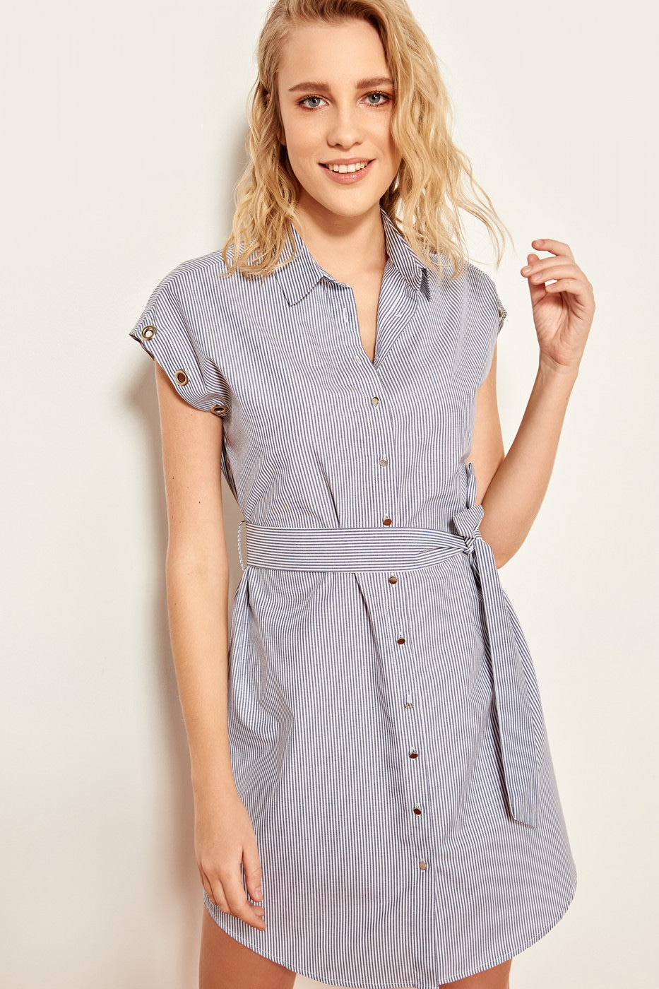 Trendyol Indigo belted eyelet detailed dress