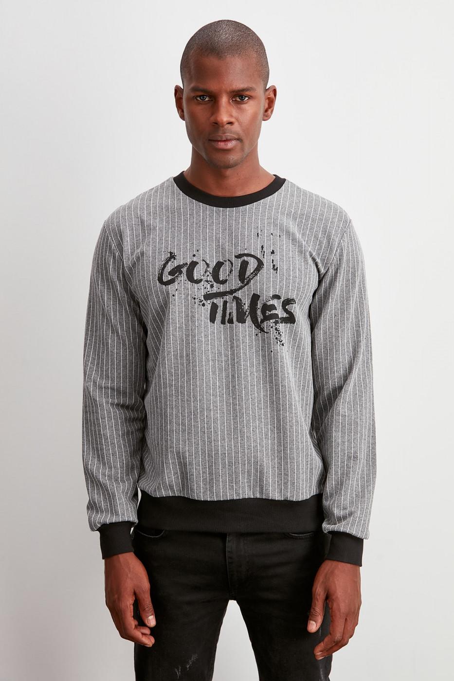 Trendyol Grey Men's Printed Sweatshirt