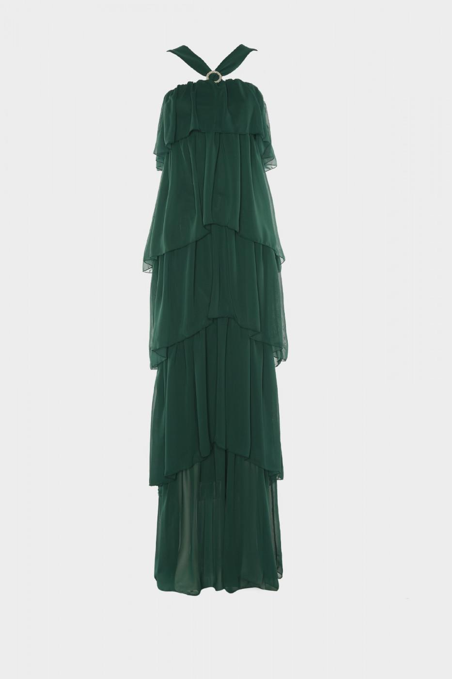 Trendyol Emerald Green Stone Buckle Detailed Evening Dress & Graduation Dress
