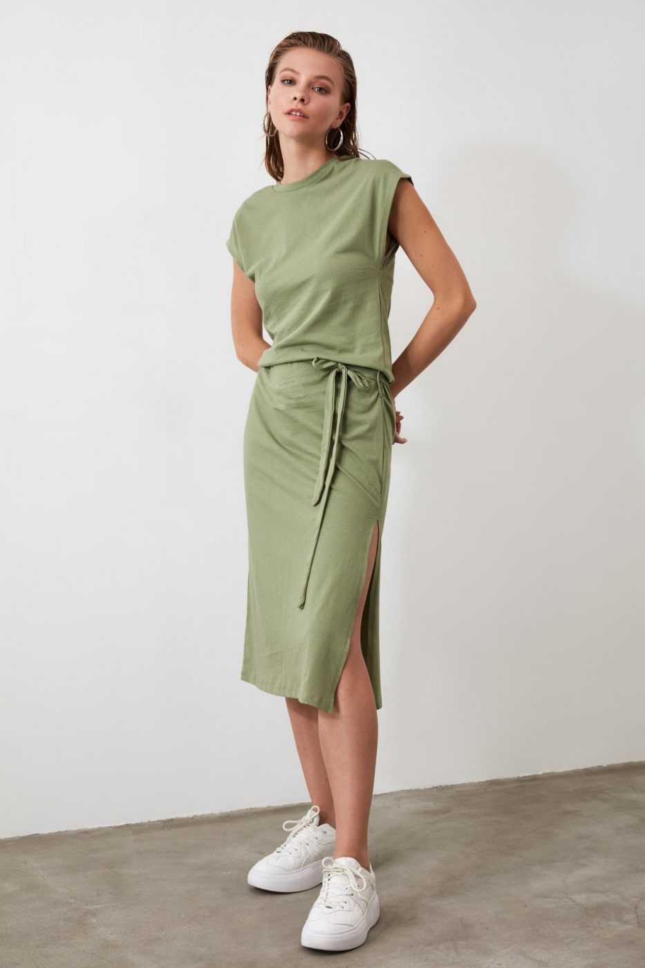Trendyol Mint Belt knitted Dress