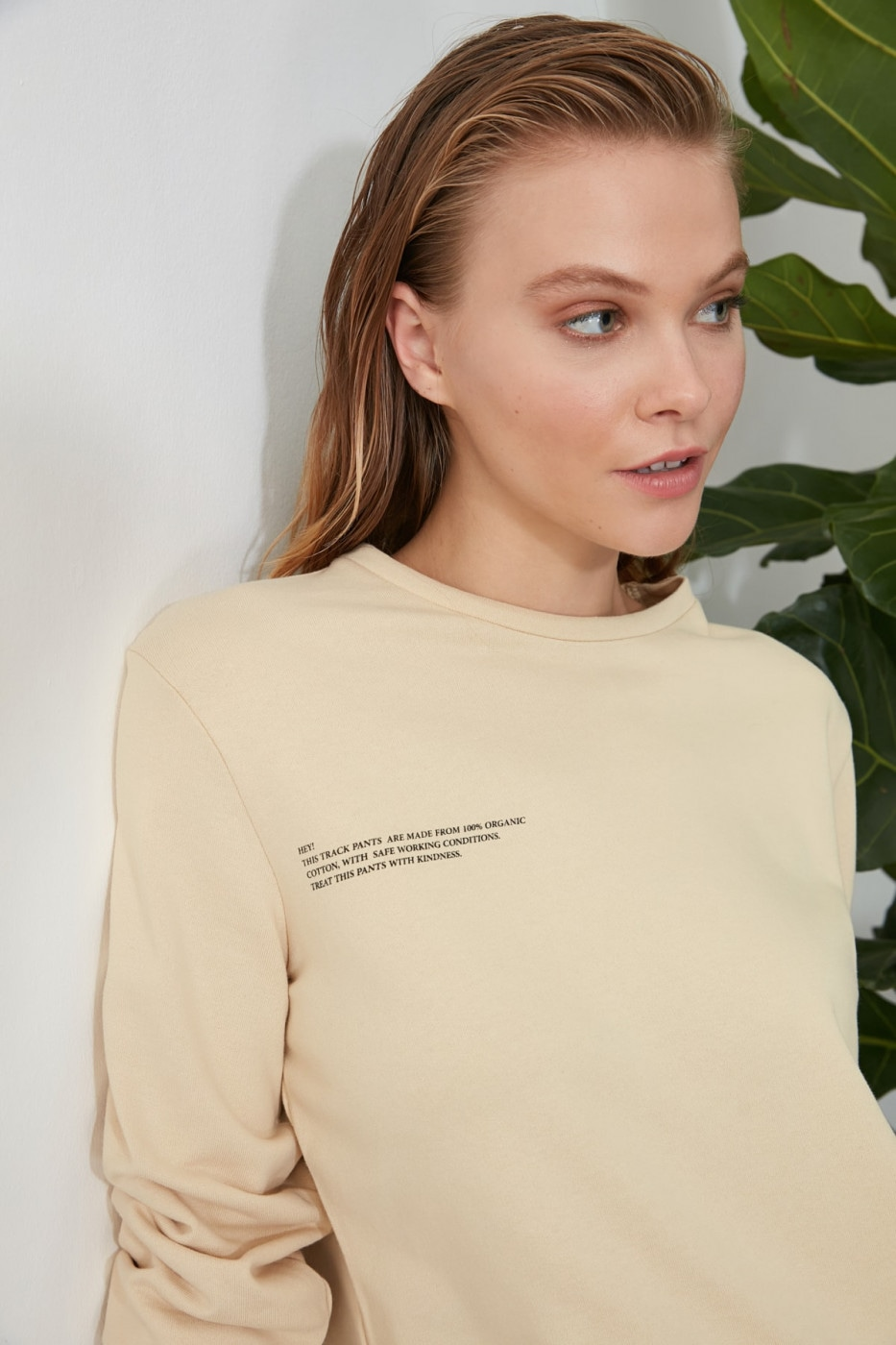 Trendyol Beige Printed 100% Organic Cotton Basic Knitted Sweatshirt