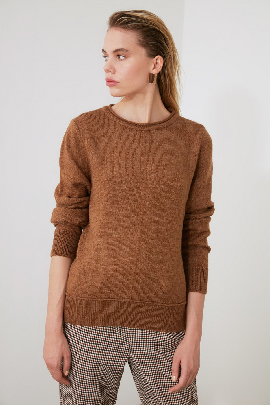 Trendyol Brown Bicycle Collar KnitWear Sweater
