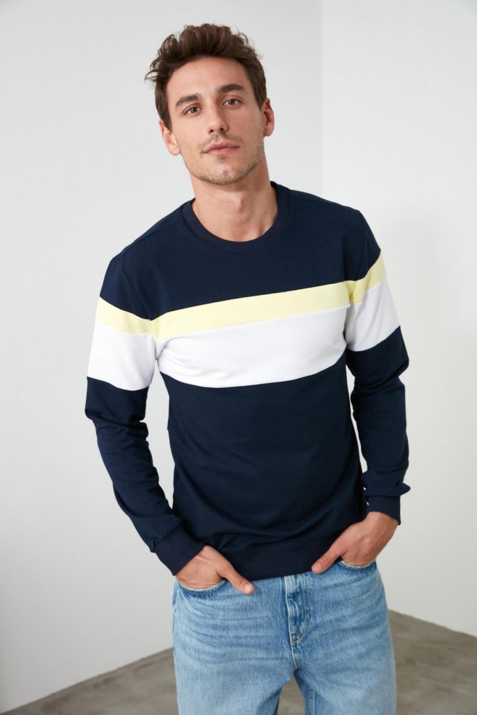 Trendyol Navy Men's Panel bike collar sweatshirt