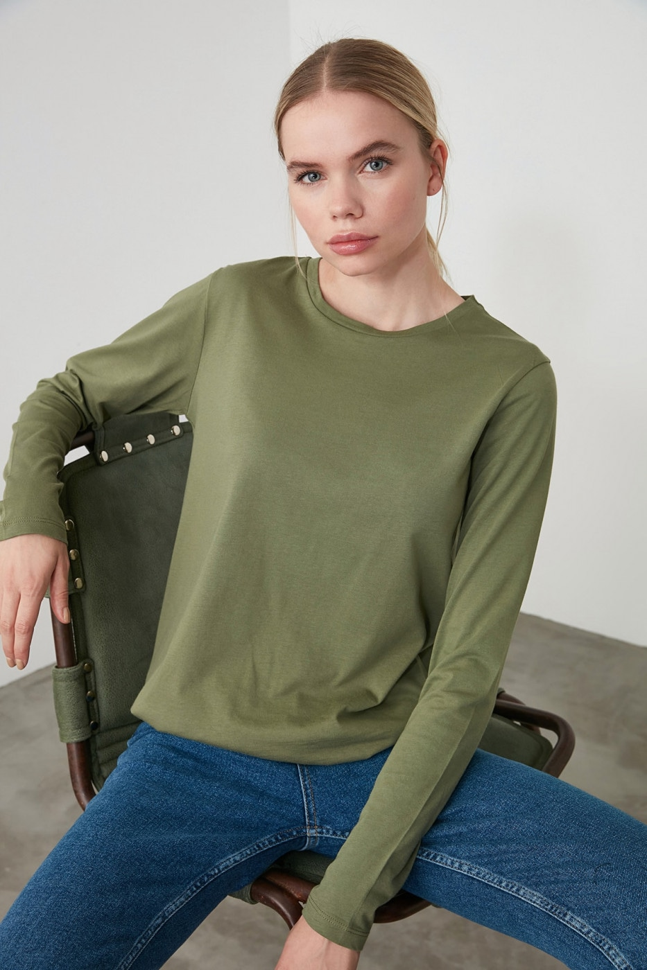 Trendyol Khaki Long Sleeve Bike Collar Basic Knitted T-Shirt