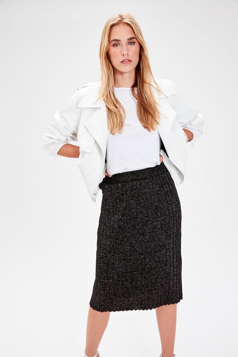 Trendyol Black Glitter Knitwear Skirt