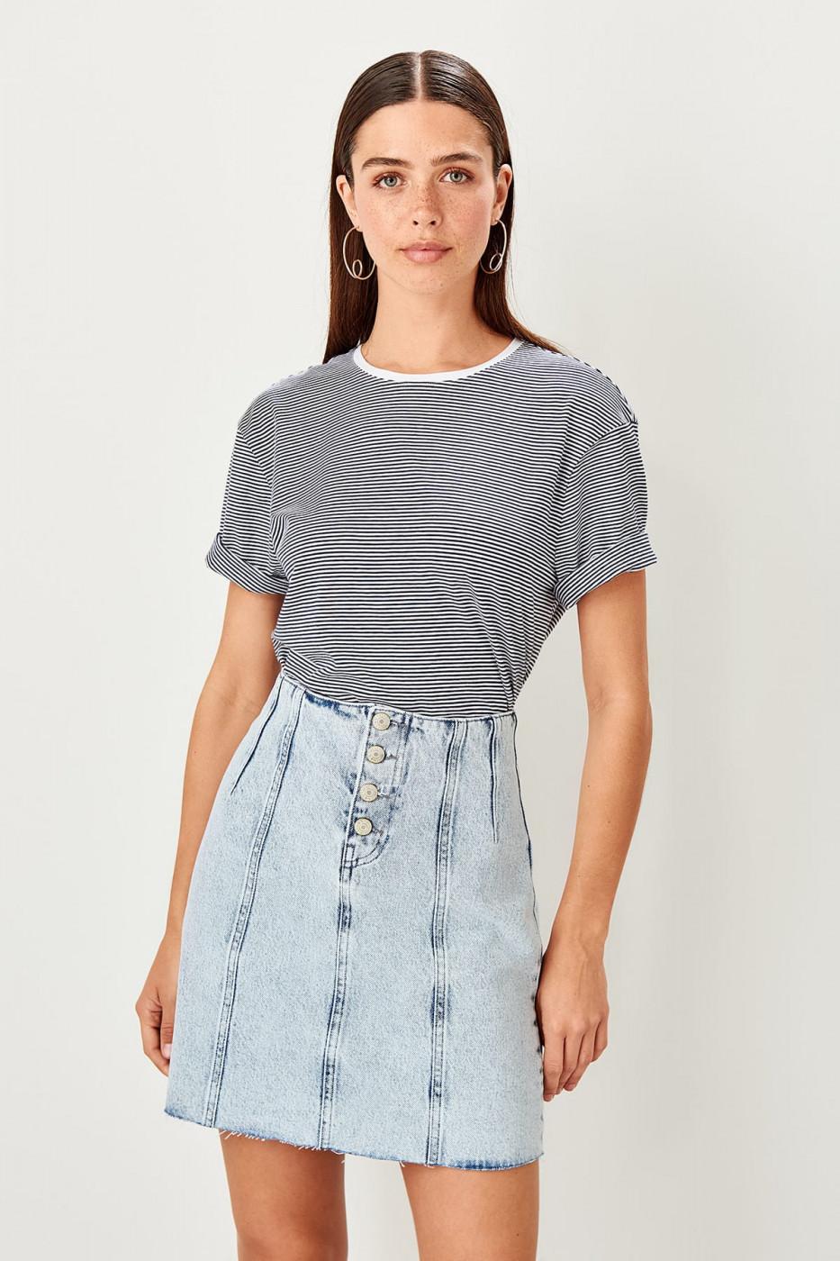 Trendyol Blue button detailed Denim skirt