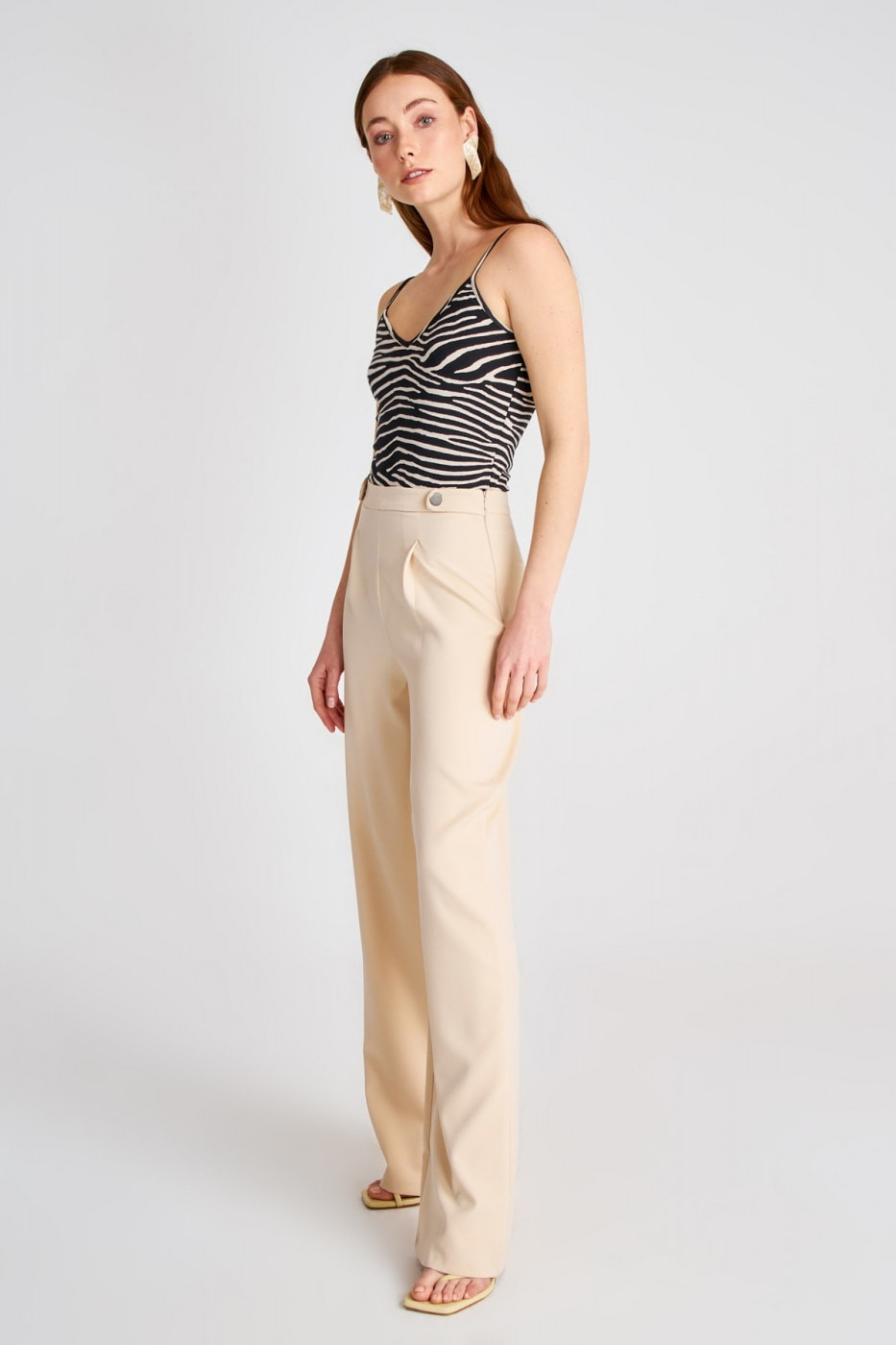 Trendyol Cream Basic Pants
