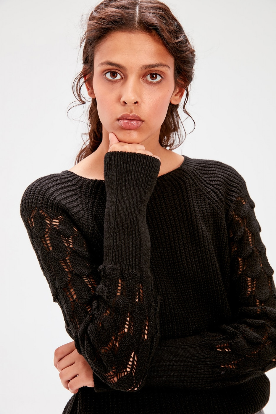 Trendyol Black Sleeve Detailed Knitwear Sweater