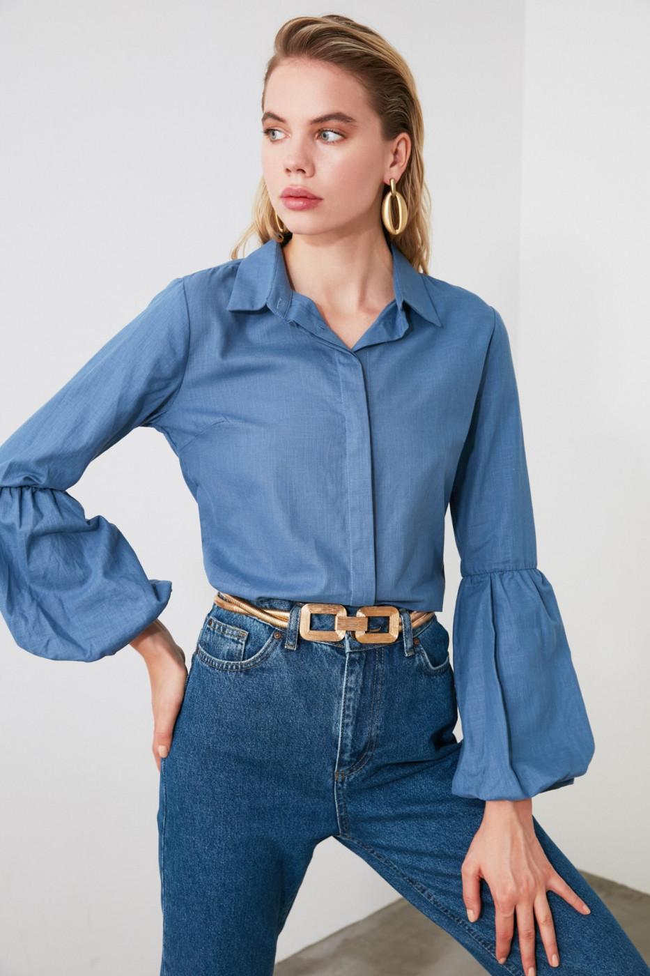 Trendyol Indigo Sleeve Detailed Shirt