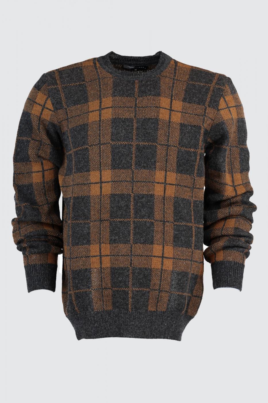 Trendyol Anthracite Men's Bike Collar Plaid Kose Sweater