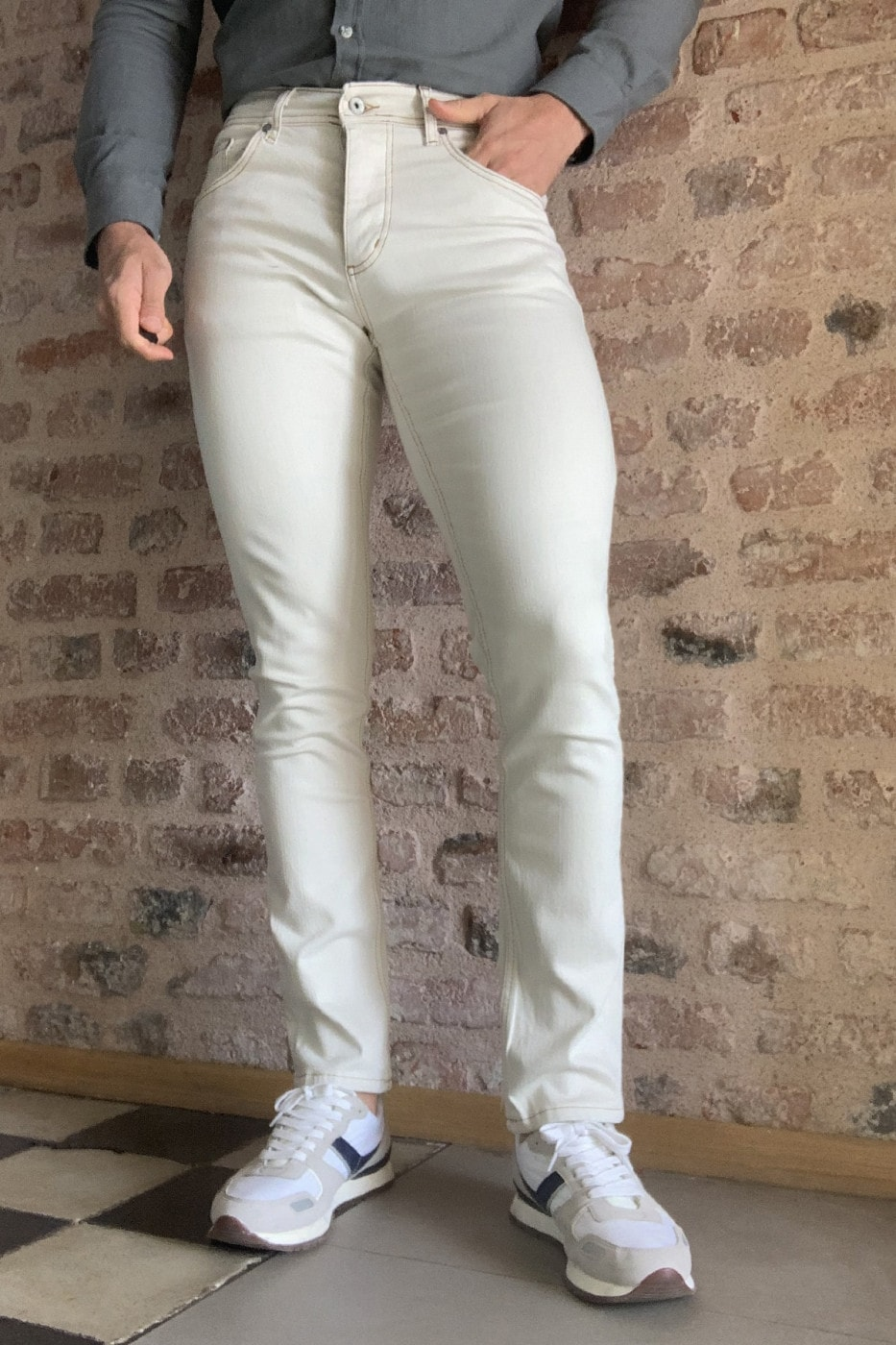 Trendyol Cream Male Skinny Tobacco Stitched Jeans