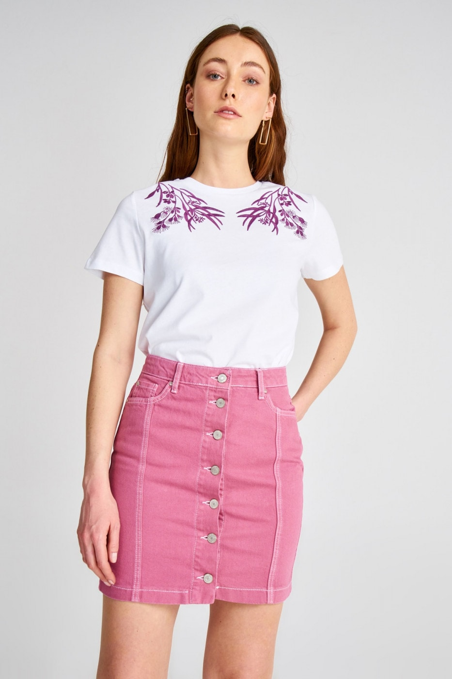 Trendyol Rose, Dry Front Button Edict Detailed Denim Skirt