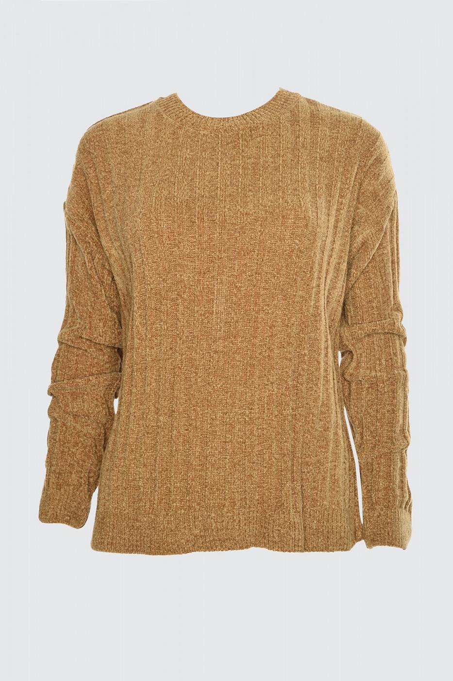 Trendyol Camel Sönil Fitilli Knit Sweater