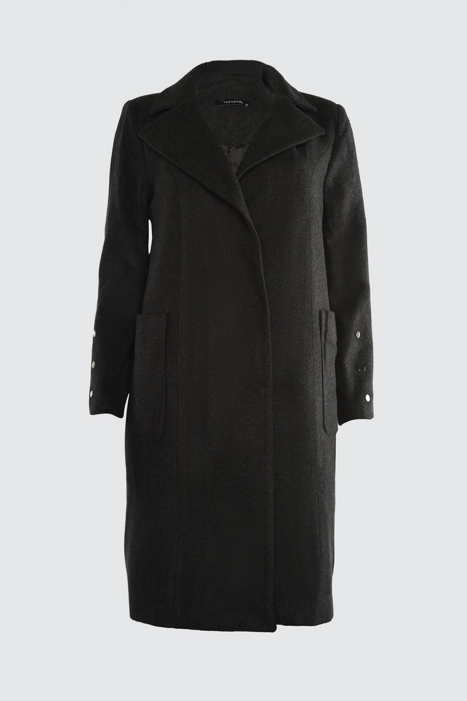 Trendyol Anthracite Metal Accessory Detailed Stamp Coat