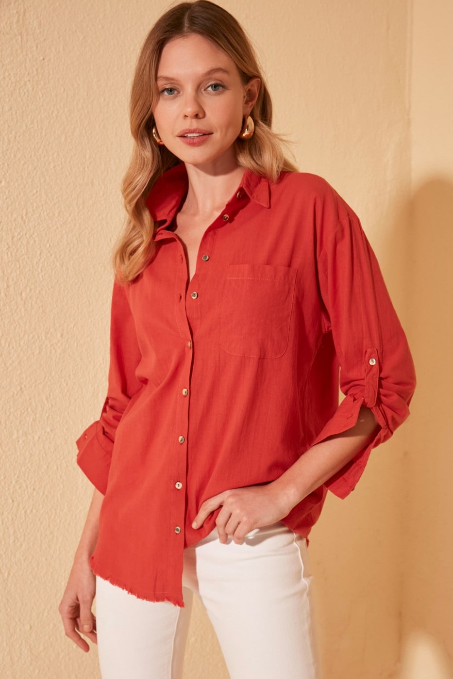 Trendyol Orange Striped Shirt