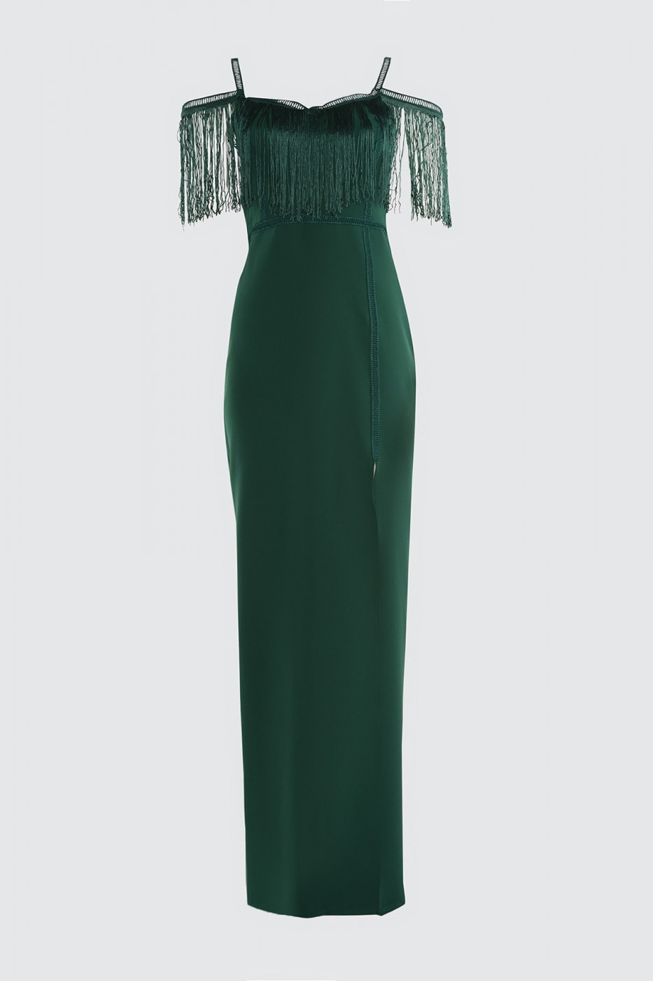 Trendyol Evening Dress with Emerald Green Tassel Detailed Slit & Graduation Dress
