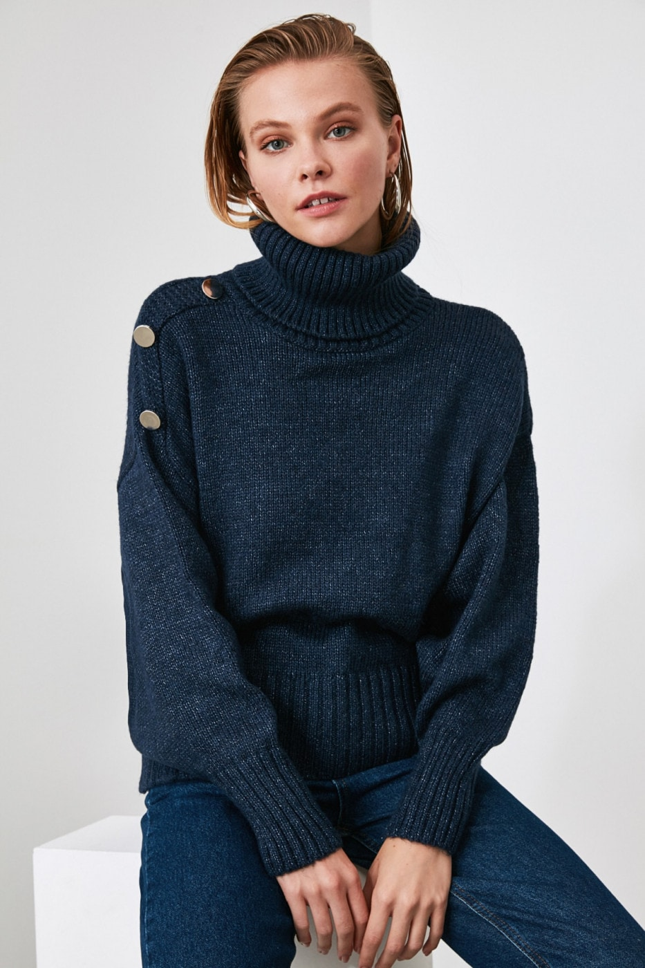 Trendyol Indigo Turtleneck Button Detailed Knitwear Sweater