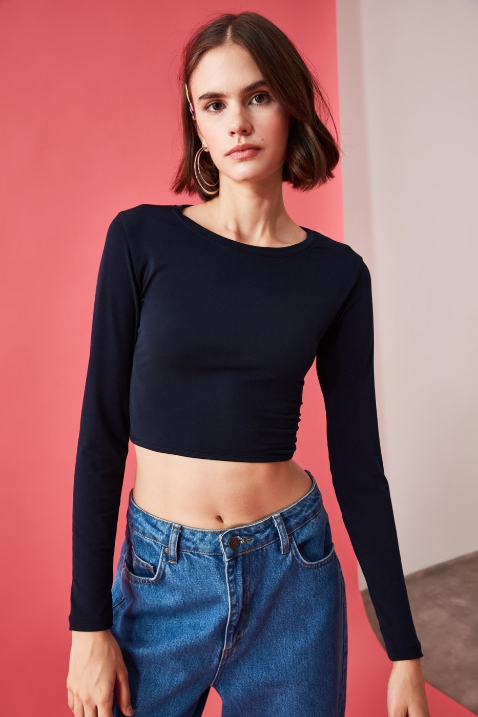 Trendyol Knitted Blouse with Navy Back Neckline