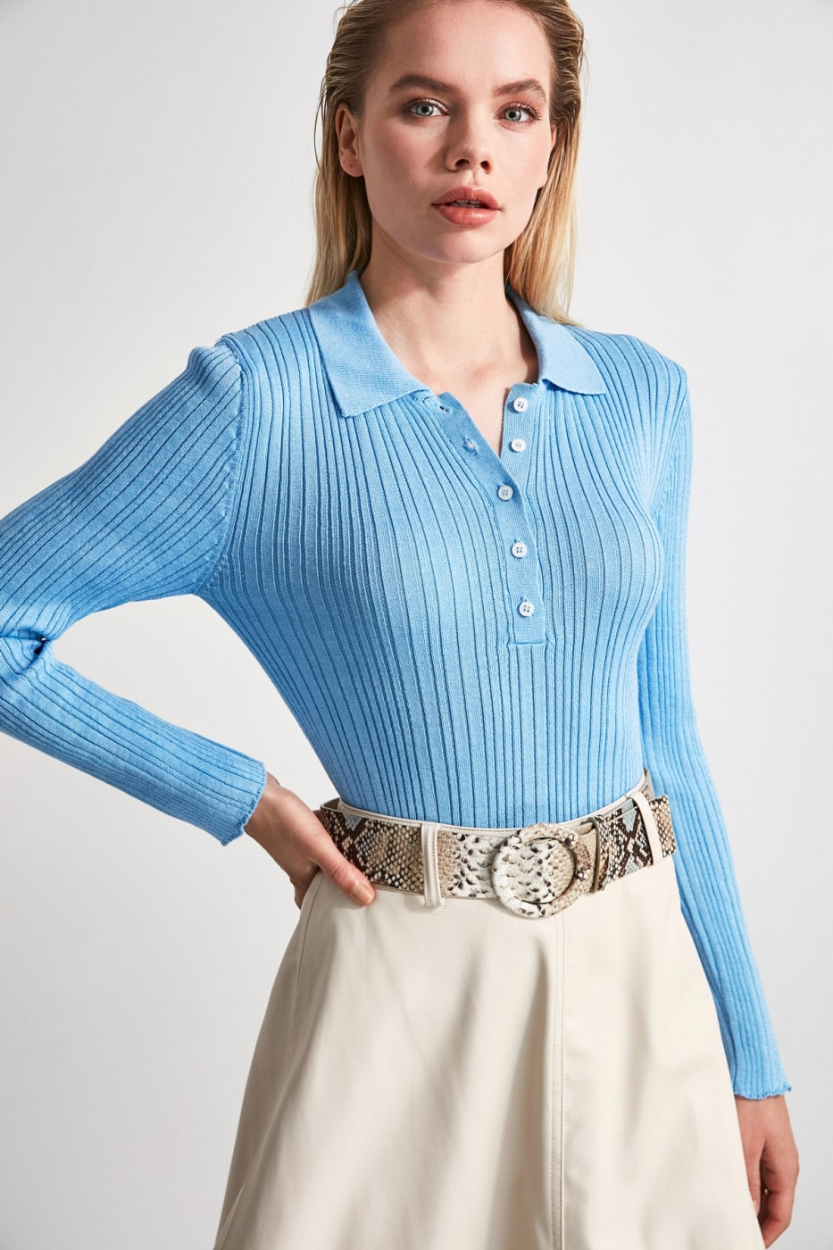 Trendyol Blue Polo Collar Fitilli Knit Sweater