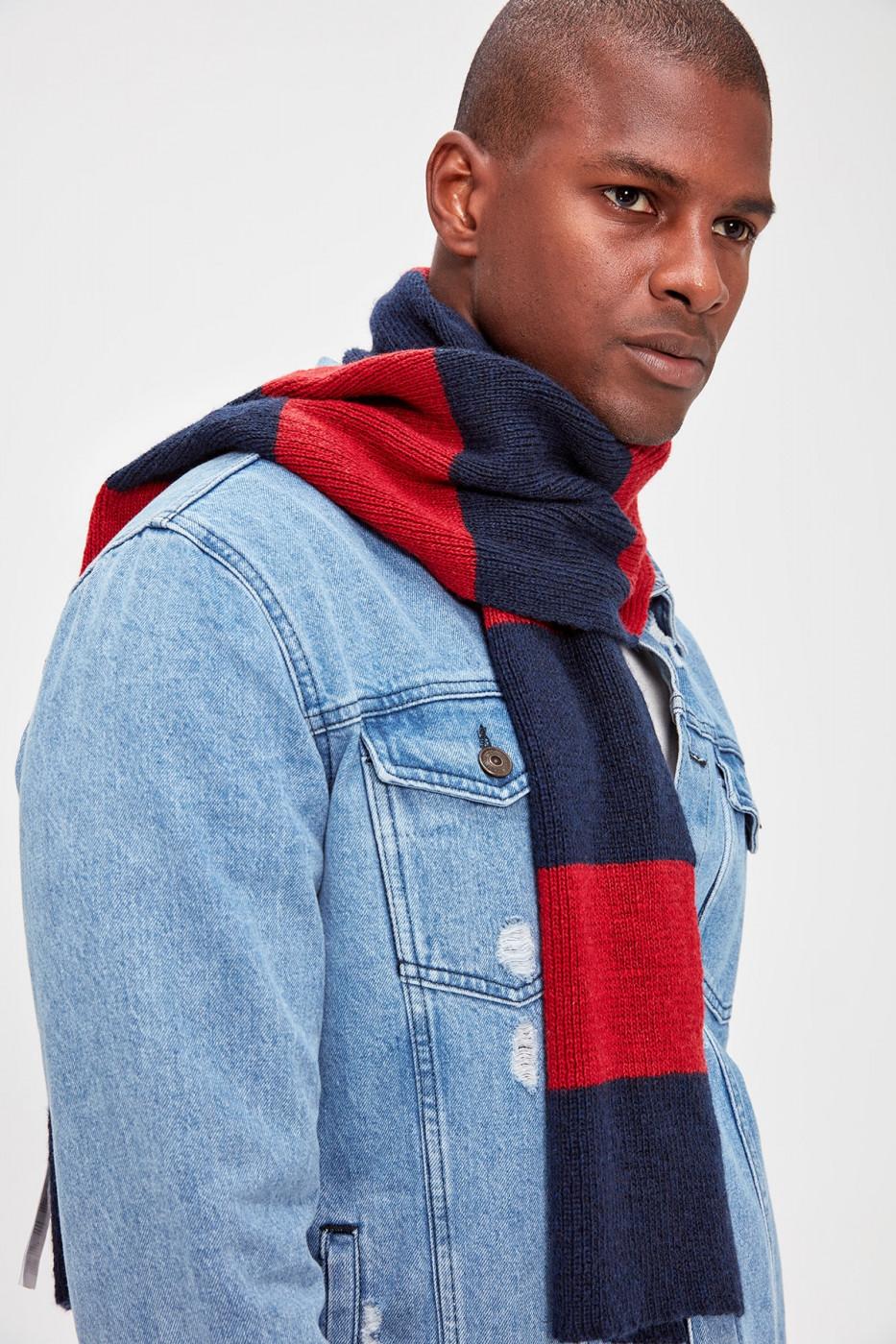 Trendyol Navy Blue Men's Red Striped Scarf
