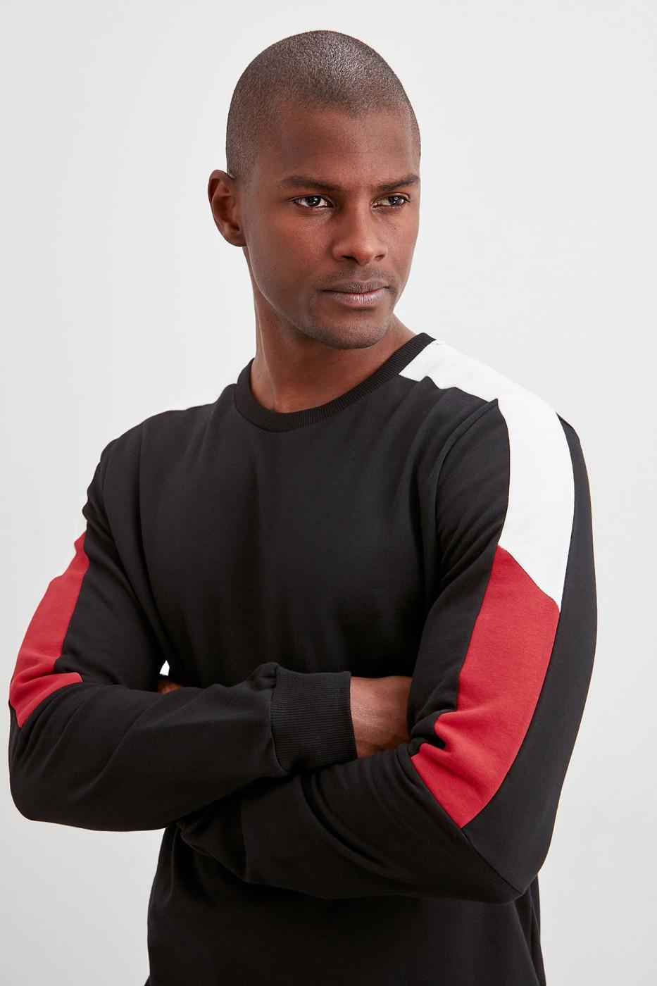 Trendyol Black Panel Sweatshirt