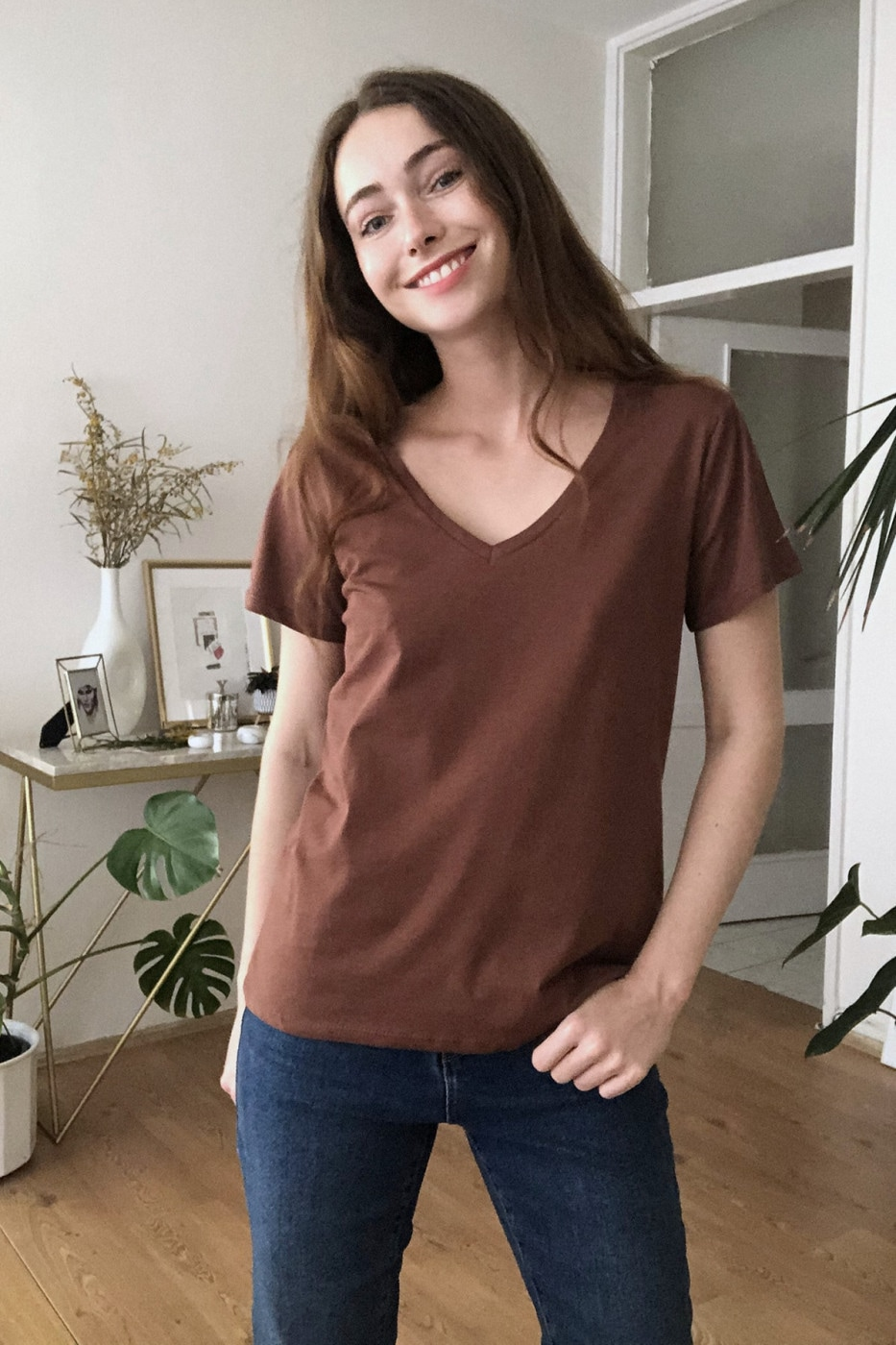 Trendyol Brown 100% Cotton V Collar Basic Knitted T-Shirt