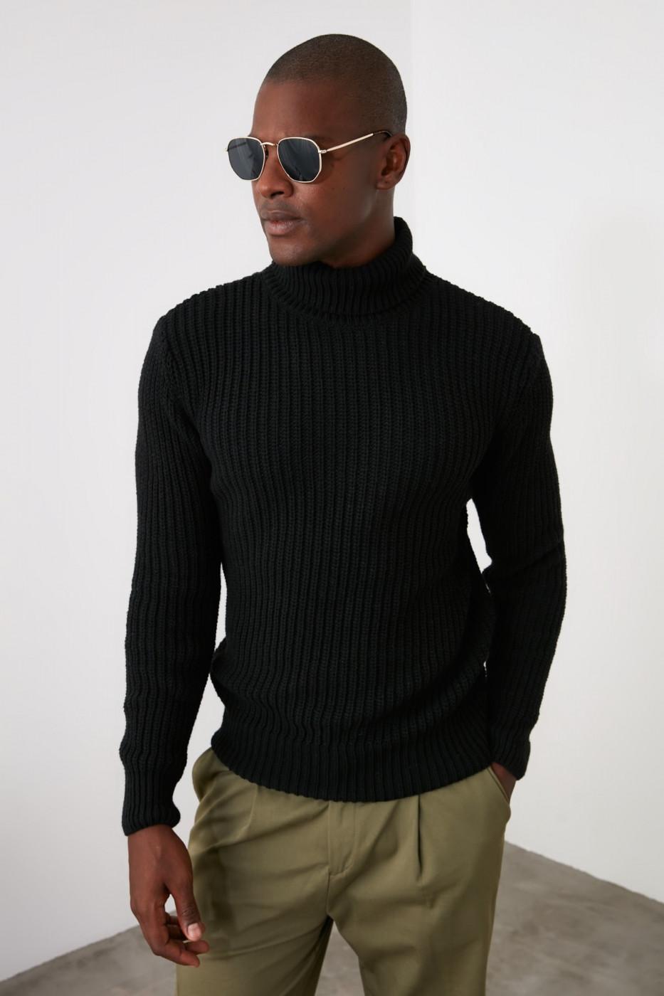 Trendyol Black Male Turtleneck KnitWear Sweater